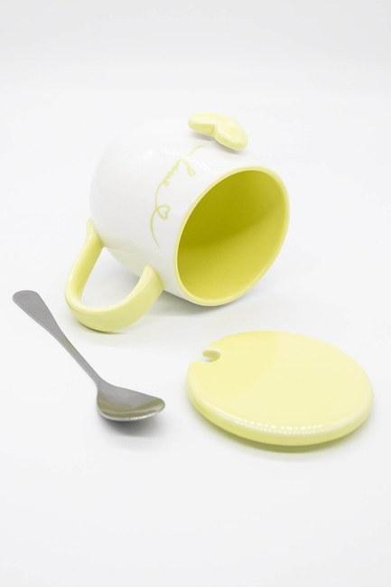 Kaşıklı Porselen Kupa (Sarı) - Thumbnail