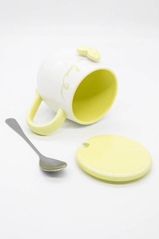 Kaşıklı Porselen Kupa (Sarı)