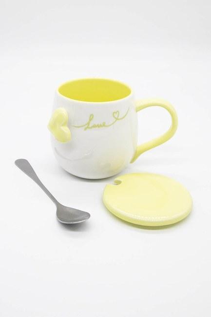 MIZALLE HOME - Kaşıklı Porselen Kupa (Sarı) (1)