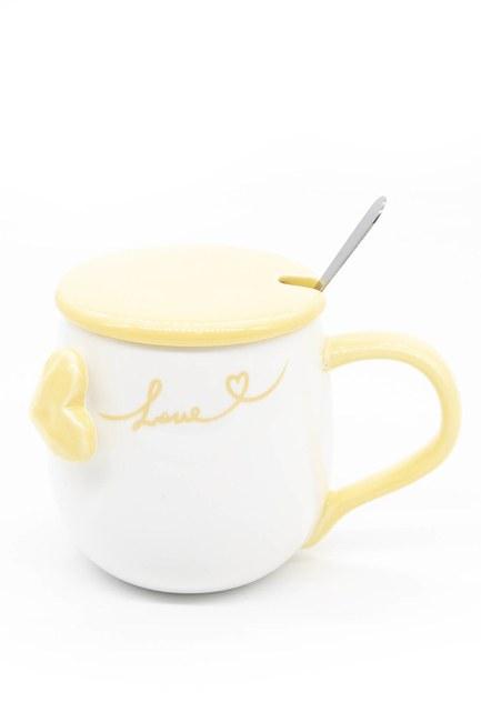 Mizalle Home - Kaşıklı Porselen Kupa (Turuncu)
