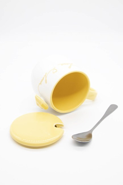 Kaşıklı Porselen Kupa (Turuncu) - Thumbnail
