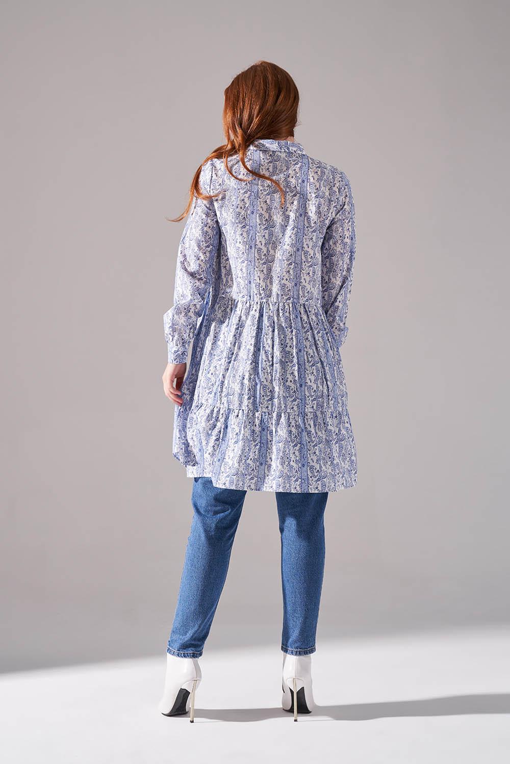 Kat Bağcıklı Mavi Tunik