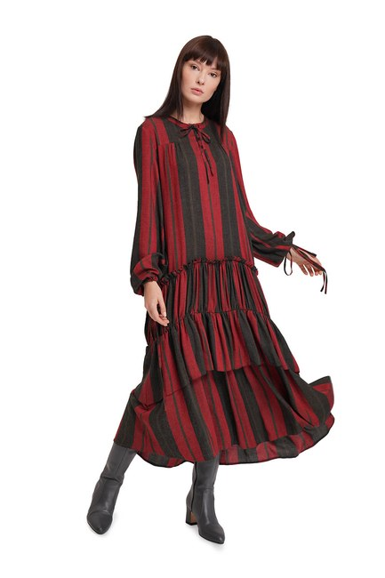 Kat Detaylı Çizgili Elbise (Bordo) - Thumbnail