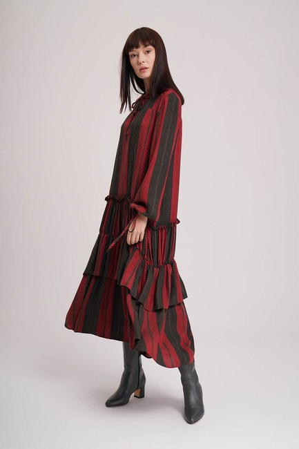 MIZALLE - Striped Dress (Claret Red) (1)