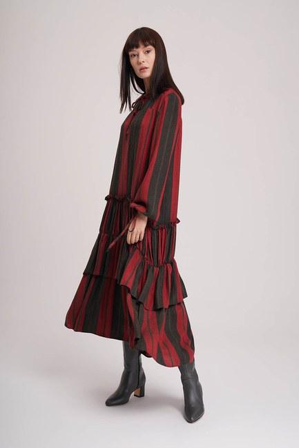 MIZALLE - Kat Detaylı Çizgili Elbise (Siyah-Kırmızı) (1)