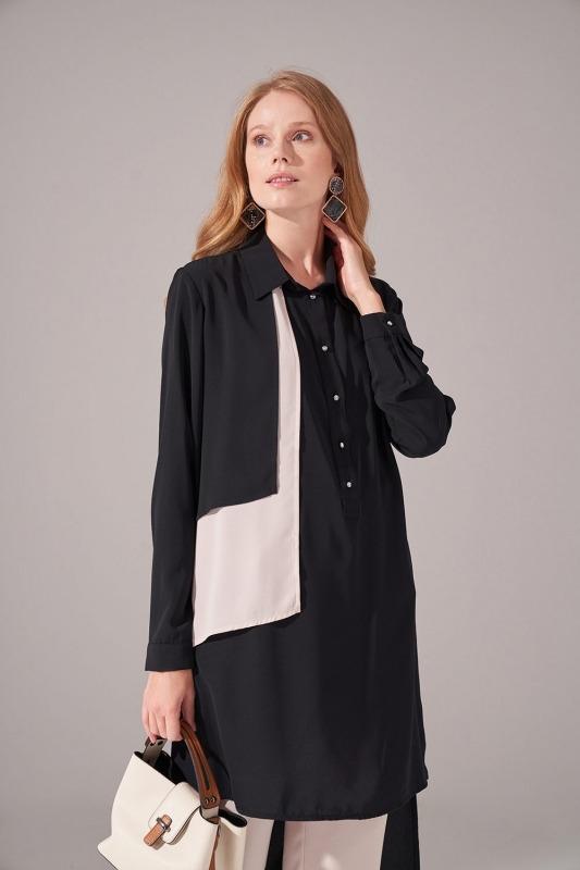Kat Detaylı Gömlek Yaka Tunik (Siyah)