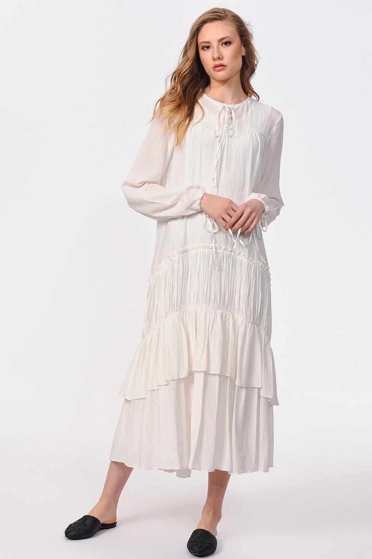 MIZALLE Kat Detaylı Uzun Elbise (Ekru) (1)