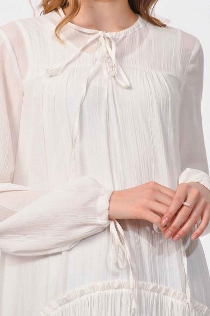 Kat Detaylı Uzun Elbise (Ekru) - Thumbnail