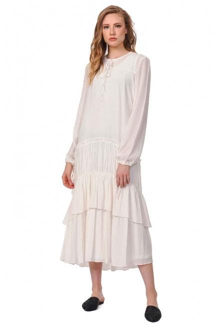 MIZALLE Kat Detaylı Uzun Elbise (Ekru)