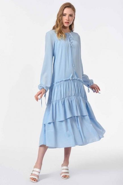 Kat Detaylı Uzun Elbise (Mavi) - Thumbnail