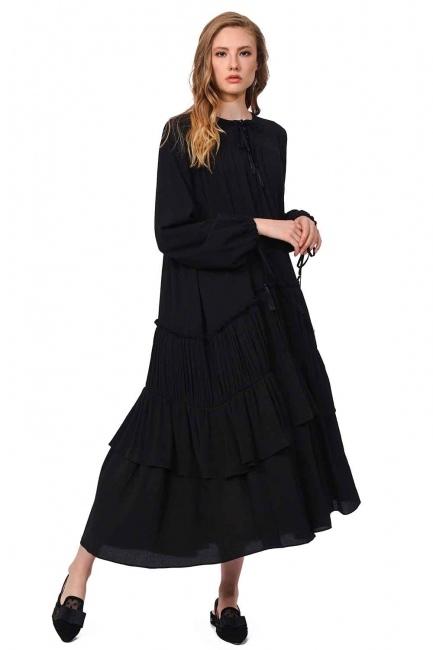 Kat Detaylı Uzun Elbise (Siyah) - Thumbnail