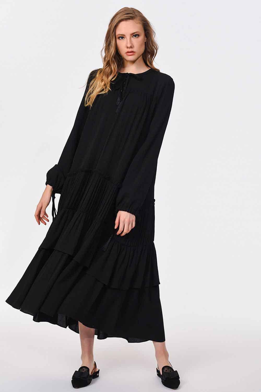 MIZALLE Kat Detaylı Uzun Elbise (Siyah) (1)