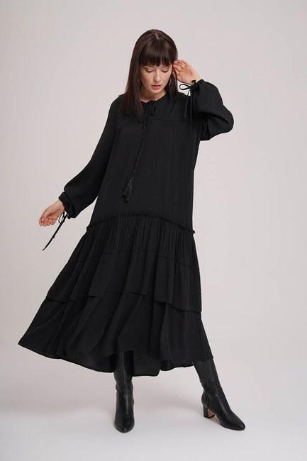 Kat Detaylı Siyah Uzun Elbise - Thumbnail