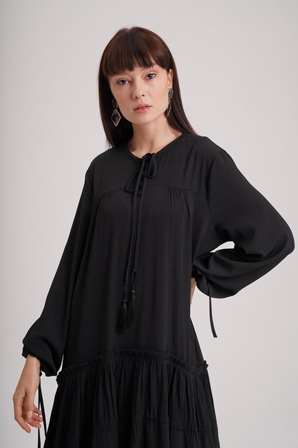 MIZALLE - Long Dress (Black) (1)