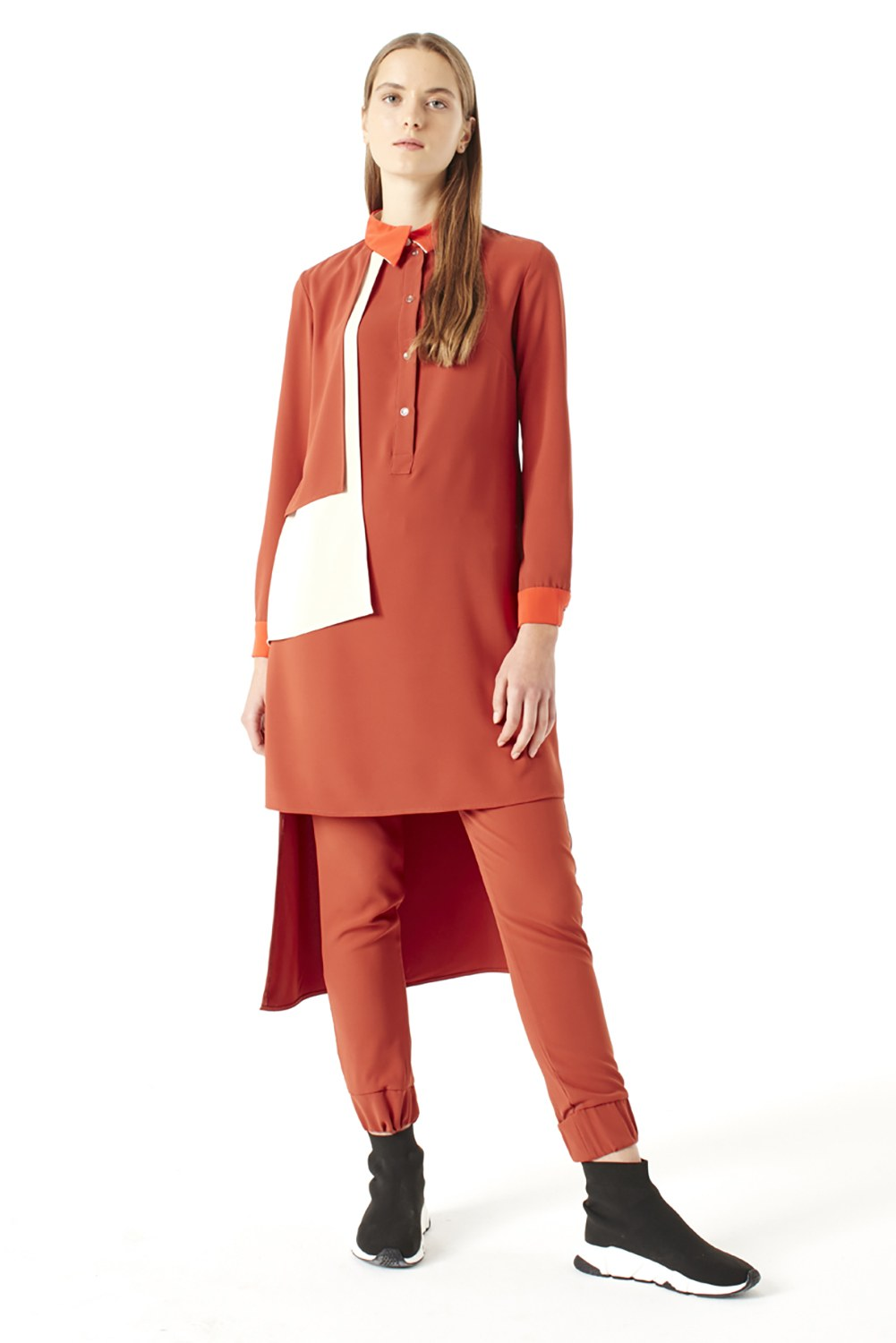MIZALLE Pile-Pieces Detailed Tunic (Brick Red) (1)
