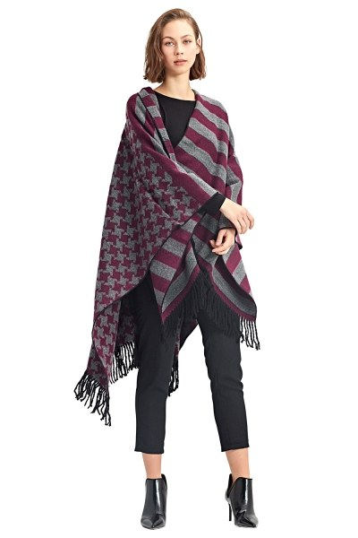 MIZALLE Goosefoot Patterned Poncho (Pink)