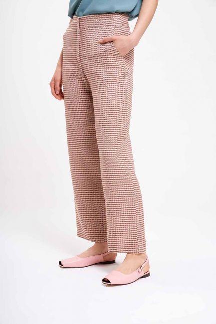 Kazayağı Desenli Pantolon (Bej) - Thumbnail