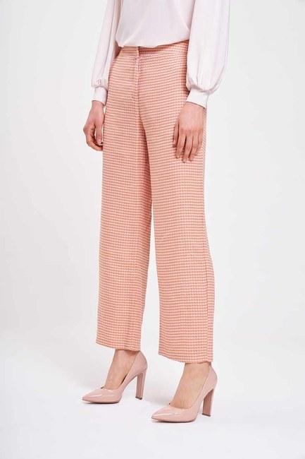 Kazayağı Desenli Pantolon (Pembe) - Thumbnail