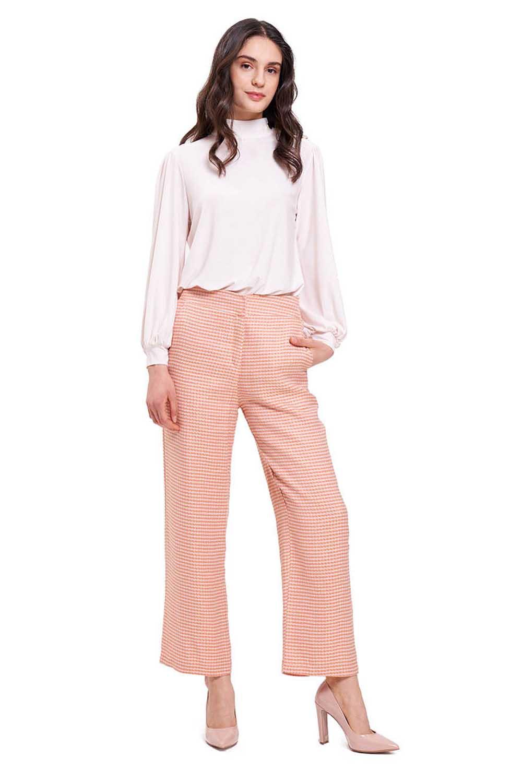 Kazayağı Desenli Pantolon (Pembe)