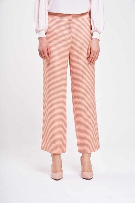 MIZALLE - Kazayağı Desenli Pantolon (Pembe) (1)