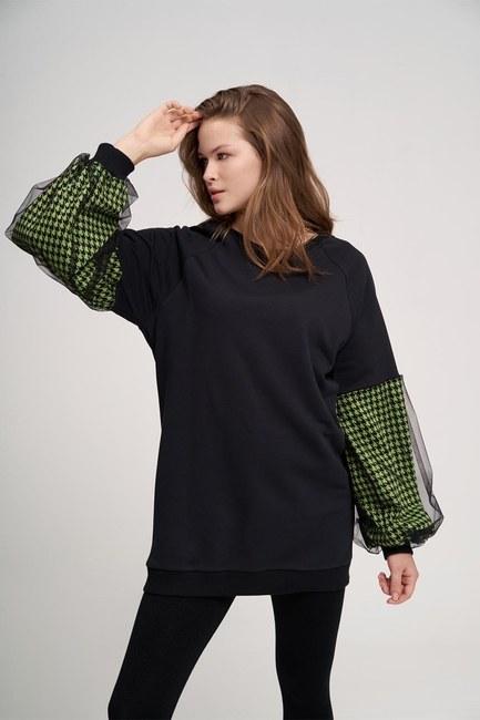 MIZALLE YOUTH - Kazayağı Sweatshirt (Yeşil) (1)