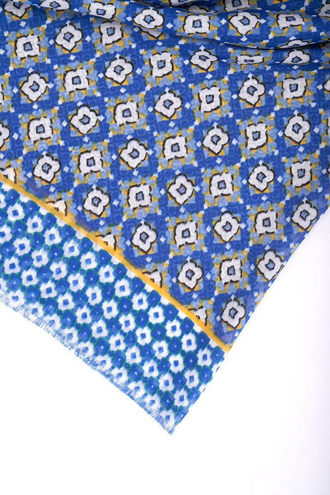 Kazayağı Şal (Mavi)