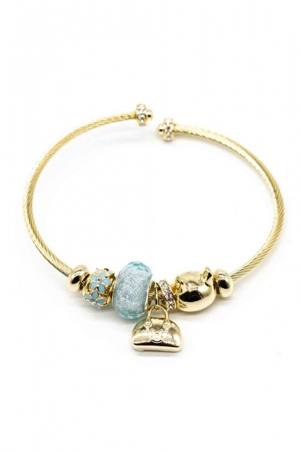 MIZALLE Cat Shaped Bracelet (Blue)