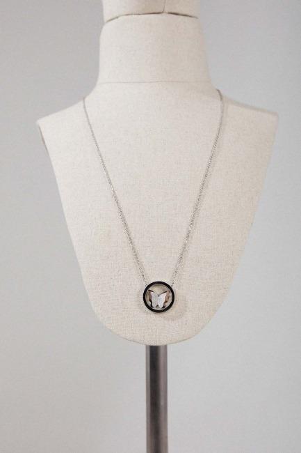 Mizalle - Kelebek Çelik Kolye (Gümüş Rengi)