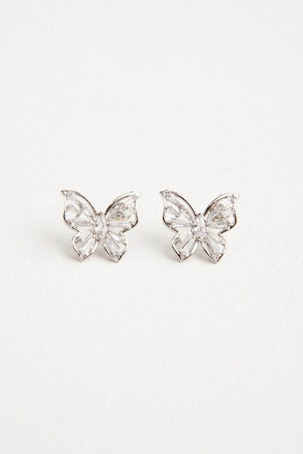 MIZALLE - Butterfly Earrings (Grey) (1)