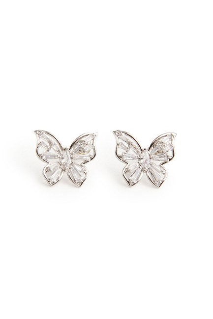 MIZALLE - Butterfly Earrings (Silver) (1)