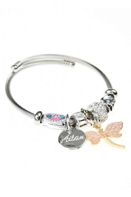 MIZALLE - Butterfly Bracelet (Pink) (1)