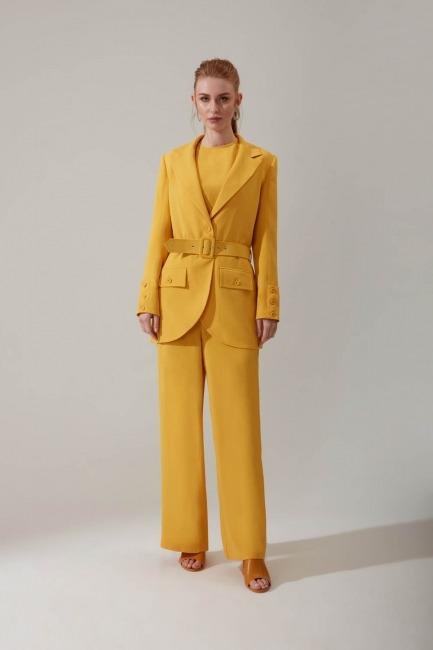 Mizalle - Kemerli Sarı Ceket