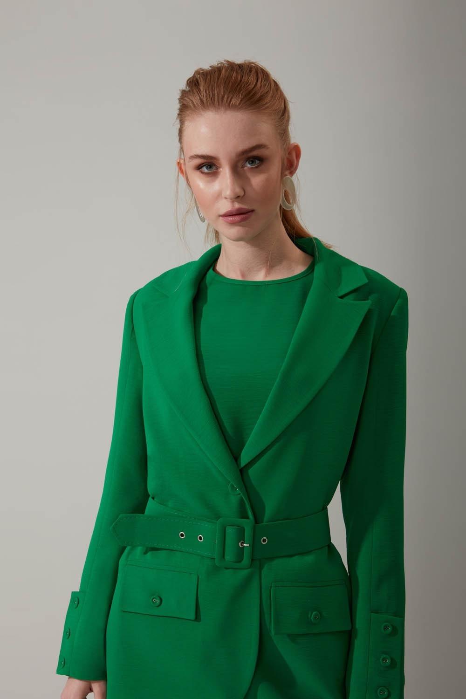 Kemerli Aerobin Yeşil Ceket
