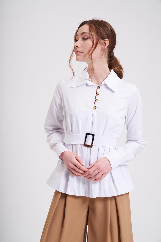 Kemerli Balon Kol Beyaz Tunik Gömlek