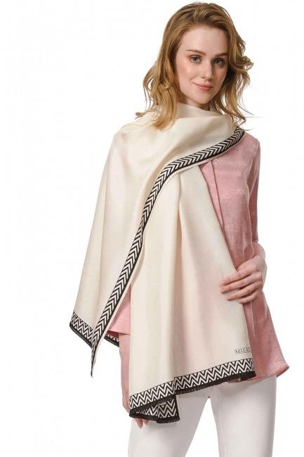 MIZALLE Patterned Silk Shawl (Ecru)