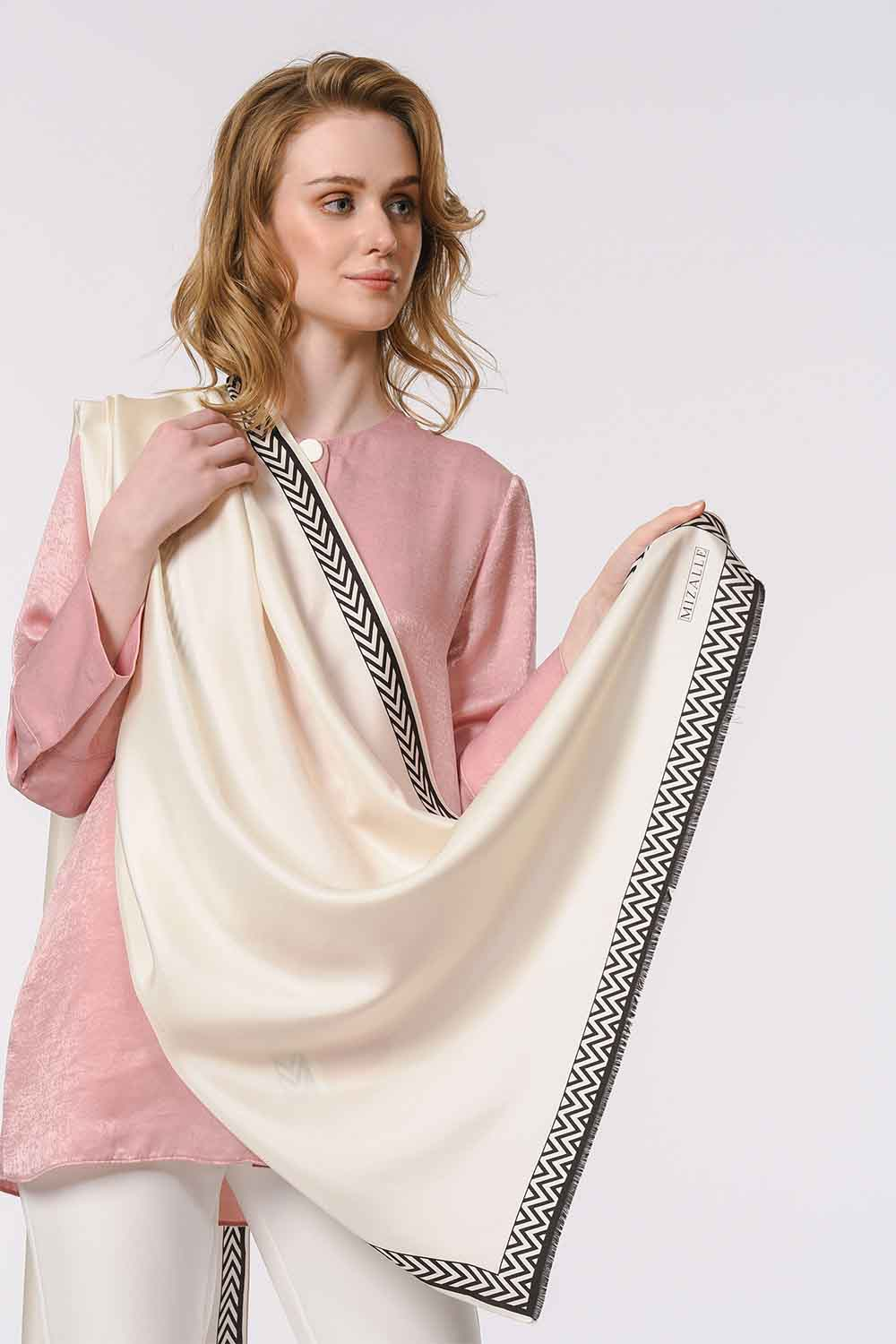 MIZALLE Patterned Silk Shawl (Ecru) (1)
