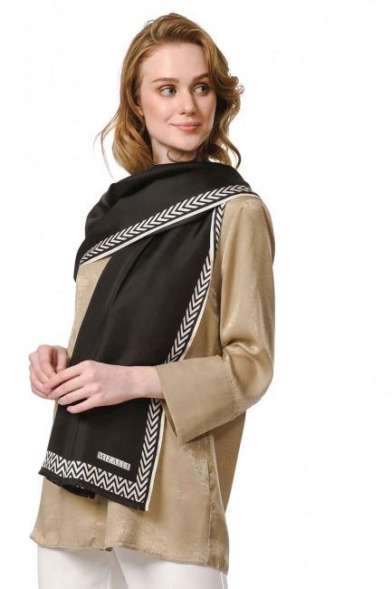 MIZALLE - Patterned Silk Shawl (Black) (1)