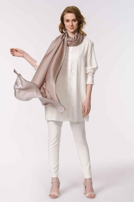 MIZALLE - Patterned Silk Shawl (Mink Color) (1)
