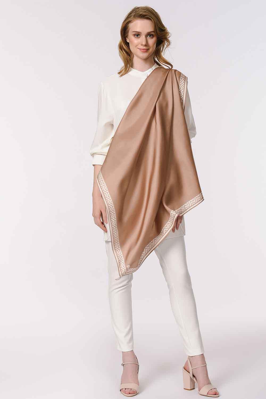 MIZALLE Patterned Edges Silk Scarf (Beige) (1)