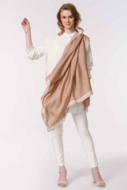 Patterned Edges Silk Scarf (Beige) - Thumbnail