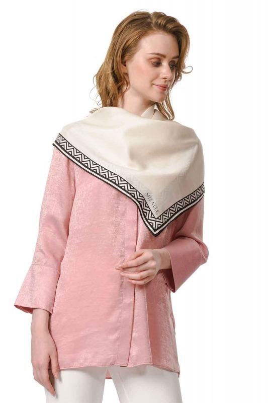 Patterned Edges Silk Scarf (Ecru)