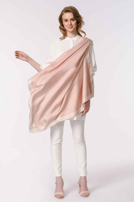 MIZALLE - وشاح مربع من الحرير مع حواف نمط (زهري) (1)