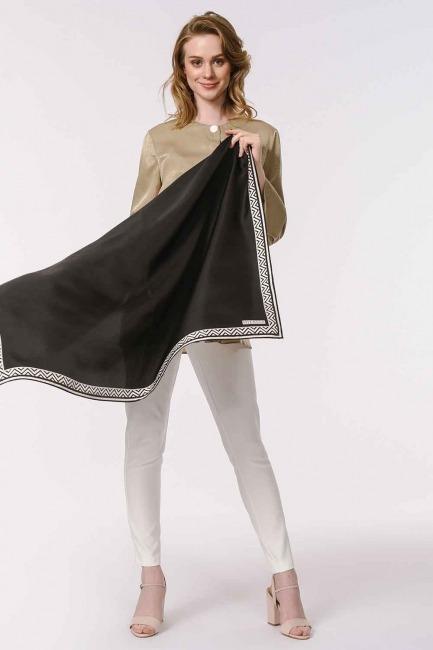 MIZALLE - وشاح مربع من الحرير مع حواف نمط (أسود) (1)