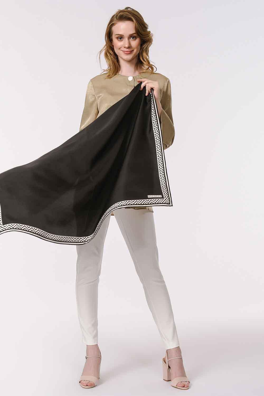 MIZALLE Patterned Edges Silk Scarf (Black) (1)