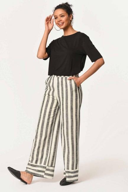 Mizalle - Keten Çizgili Beli Lastikli Pantolon (Ekru/Antrasit)