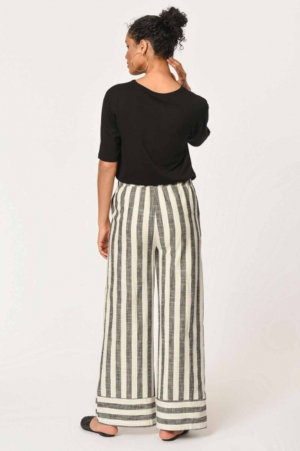 Linen Striped Waist Pants (Ecru/Anthracite) - Thumbnail