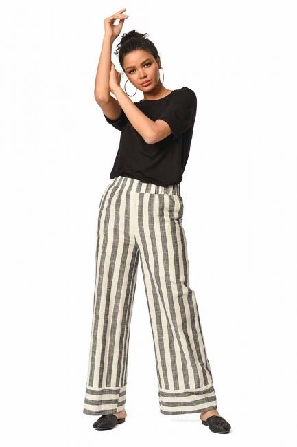 Keten Çizgili Beli Lastikli Pantolon (Ekru/Antrasit) - Thumbnail