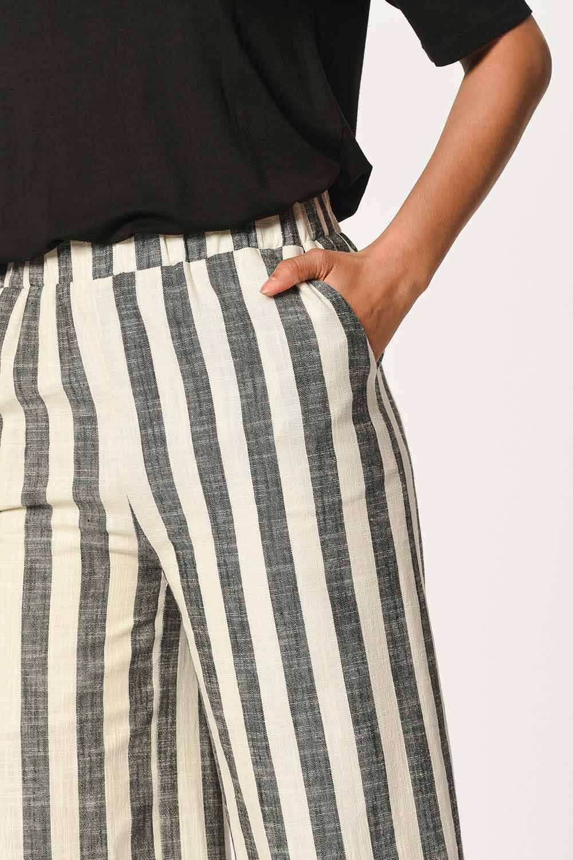 MIZALLE Keten Çizgili Beli Lastikli Pantolon (Ekru/Antrasit) (1)