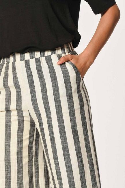 MIZALLE - Keten Çizgili Beli Lastikli Pantolon (Ekru/Anta) (1)