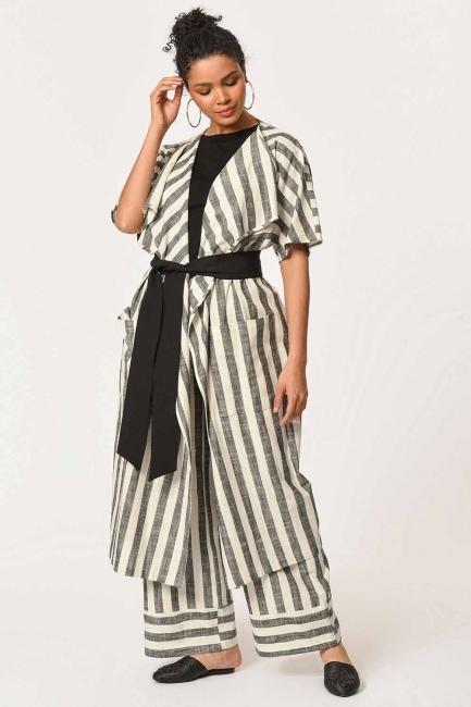 Mizalle - Keten Çizgili Uzun Kimono Hırka (Ekru/Anta)